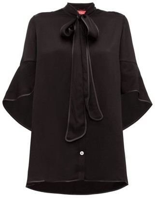 F.R.S For Restless Sleepers Diana Pussy-bow Hammered-satin Blouse - Black
