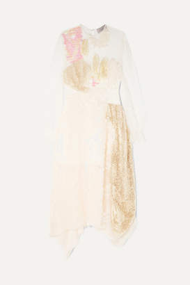 Preen by Thornton Bregazzi Cara Sequined Lace Midi Dress - Ivory