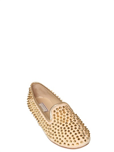 Serafini 10mm Marilyn Studded Calf Suede Loafers