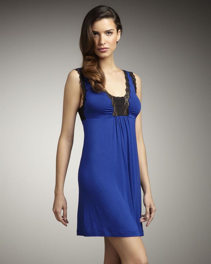 Oscar de la Renta Short Lace-Trim Twilight Gown