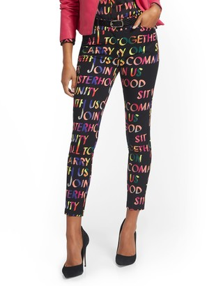 New York & Co. Petite Audrey High-Waisted Ankle Pant - Script-Print