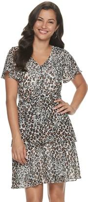 Sharagano Women's Animal-Print Flutter Sleeve Dress