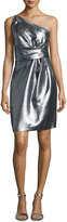 Halston One-Shoulder Pleated Cocktail Dress, Silver