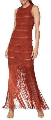 Herve Leger Crochet Macrame Fringe Midi Dress