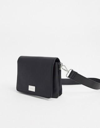 Bershka square cross body bag in black