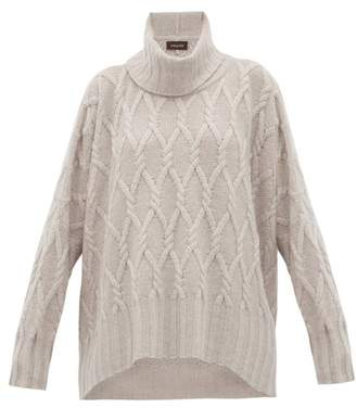 eskandar Roll Neck Cable-knit Cashmere Sweater - Womens - Light Grey