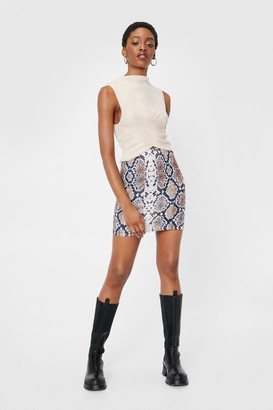 Nasty Gal Womens Hiss is All You Need Snake Mini Skirt - Brown - 4