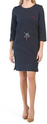 Three-quarter Sleeve Tie Waist Knit Dress