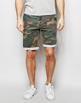 Asos Slim Washed Shorts In Camo