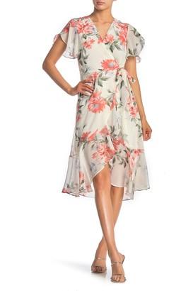 June & Hudson Floral Print Side Tie Dress