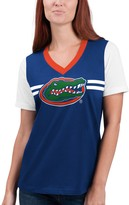 G Iii Women's G-III 4Her by Carl Banks Royal Florida Gators Pass Rush V-Neck T-Shirt