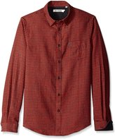Ben Sherman Men's Long Sleeve Brushed Gingham Twill Woven