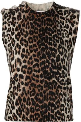 Ganni Leopard-Print Sleeveless Jumper