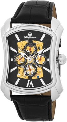 Burgmeister Wisconsin Bm113-122 Gents Automatic Analogue Wristwatch Black Leather Strap Day Date Month 24H