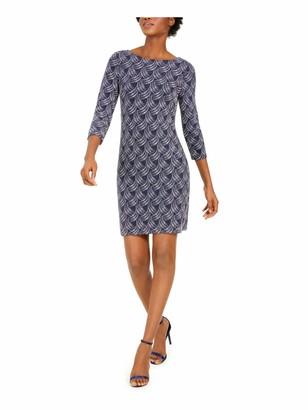 Unknown Jessica Howard Womens Navy Glitter 3/4 Sleeve Jewel Neck Above The Knee Sheath Wear to Work Dress Petites UK Size:14