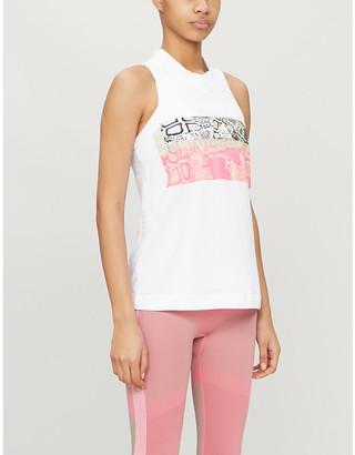 adidas by Stella McCartney Graphic-print sleeveless cotton-jersey T-shirt