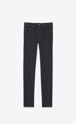 Saint Laurent Cropped Mid-rise Skinny Jeans In Used Black Stretch Denim Used Black 27