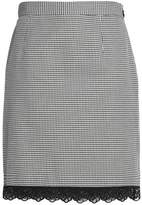 Claudie Pierlot Lace-Trimmed Houndstooth Cotton Mini Skirt