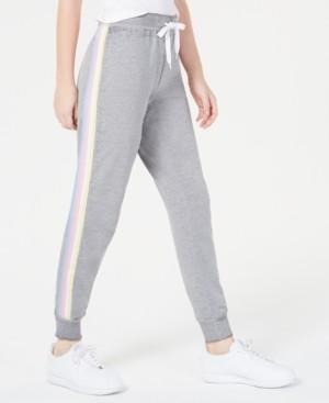 Planet Gold Juniors' Rainbow Side-Stripe Jogger Pants
