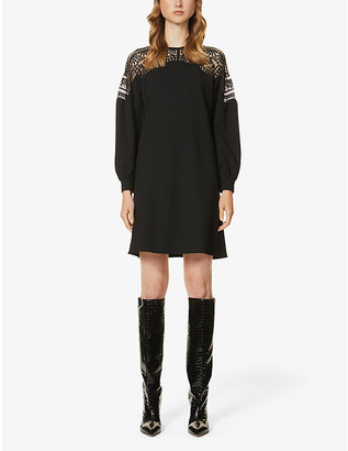 Alberta Ferretti Floral-embroidered stretch-jersey mini dress
