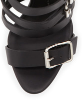 Giuseppe Zanotti Buckled Strap Leather Sandal, Nero
