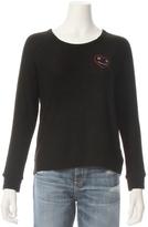 Sundry Crop Smiley Embroider Sweatshirt