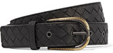 Bottega Veneta Intrecciato Leather Belt - Black