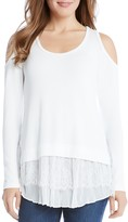 Karen Kane Cold Shoulder Mixed Media Tiered Hem Top