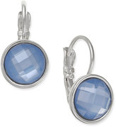 Nine West Silver-Tone Faceted Blue Stone Drop Earrings