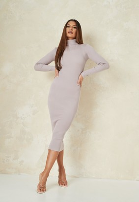 Missguided Grey Roll Neck Knit Midaxi Dress