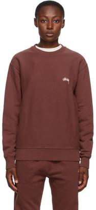 Stussy Burgundy Stock Logo Sweatshirt