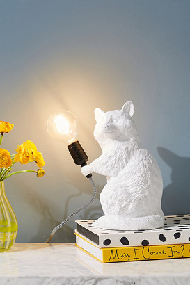 Anthropologie Raccoon Table Lamp By in White