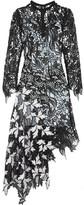 Self-Portrait Vine Asymmetric Guipure Lace Midi Dress - Black