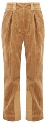 Ganni Cotton-corduroy Straight-leg Trousers - Womens - Camel