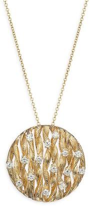 Effy 14K Yellow Gold Diamond Textured Pendant Necklace