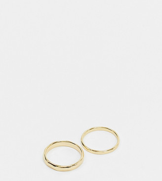 Topshop House of Freedom by hammered 2 ring multipack in gold plate