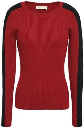 MICHAEL Michael Kors Striped Ribbed-knit Sweater