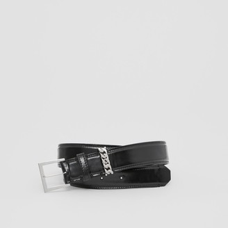 Burberry Chain Detail Horseferry Print Coated Canvas Belt