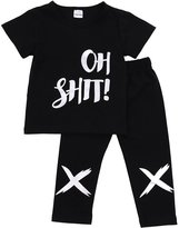 Albee Yang Little Boys Short Sleeve Letters Print T-shirt and Pants Outfit