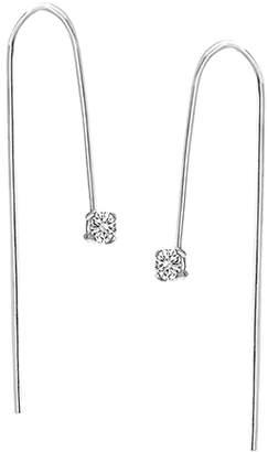 Bliss Women's Earrings Silver - Cubic Zirconia & Sterling Silver Square-Cut Threader Earrings