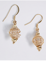 M&S Collection Gold Plated Spiral Cage Drop Earrings