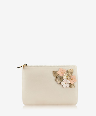 GiGi New York Elie Floral Applique Clutch, Ivory Napa Luxe