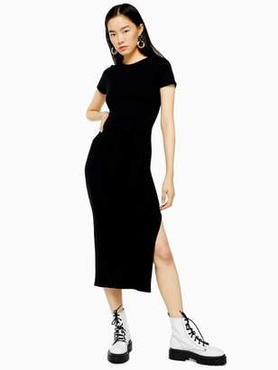 Topshop Wide Belt Rib Column Dress - Black