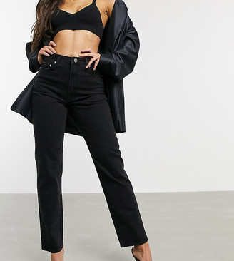 Asos Tall ASOS DESIGN Tall High rise stretch 'slim' straight leg jeans in black