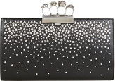Alexander McQueen Skull Four Ring Crystal Studded Leather Clutch