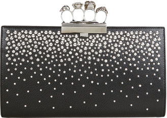 Alexander McQueen Skull Four Ring Studded Leather Clutch
