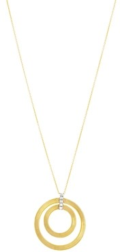 Marco Bicego 18K White & Yellow Gold Masai Diamond Double Circle Pendant Necklace, 31.5L