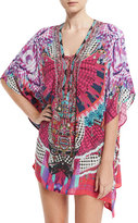 Camilla Embellished Lace-Up Silk Caftan Coverup, Desert Discotheque