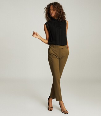 Reiss Joanne - Slim Fit Tailored Trousers in Khaki