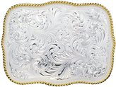 "Montana Silversmiths Large Scalloped Silver Engraved Western Belt Buckle - Silver - 4 1/4"" X 3 1/4"""